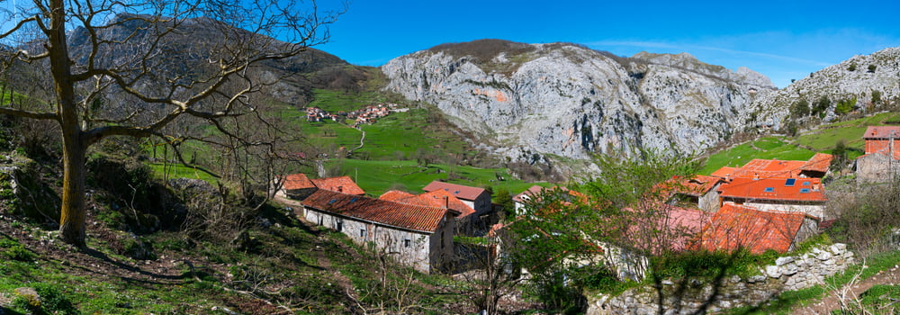 Mountain landscape of Bejes village of Liebana county of Cantabria Autonomous Community of Spain, Europe